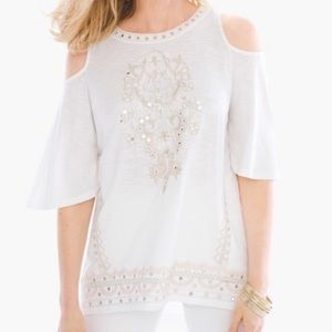 Chico's Embroidered Cold Shoulder Top